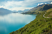 The view of Lake Wakatipu from Bennett's Bluff, halfway between Queenstown and Glenorchy, on the South Island of New Zealand.