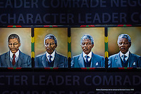 A series of paintings of Nelson Mandela as he aged, Apartheid Museum, Johannesburg, South Africa.