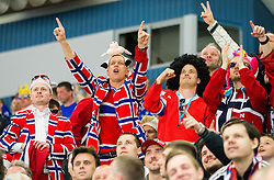 Fans of Norway during Ice Hockey match between Slovenia and Norway at Day 8 in Group B of 2015 IIHF World Championship, on May 8, 2015 in CEZ Arena, Ostrava, Czech Republic. Photo by Vid Ponikvar / Sportida