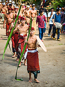 22 JULY 2016 - TENGANAN DUAH TUKAD, BALI, INDONESIA: Participants in the pandanus fights parade to the arena in the Tenganan Duah Tukad village on Bali. The ritual Pandanus fights are dedicated to Hindu Lord Indra. Men engage in ritual combat with spiky pandanus leaves and rattan shields. They usually end up leaving bloody scratches on the combatants' backs. The young girls from the community wear their best outfits to watch the fights. The fights have been traced to traditional Balinese beliefs from the 14th century CE. The fights are annual events in the Balinese year, which is 210 days long, or about every seven months in the Gregorian calendar.    PHOTO BY JACK KURTZ
