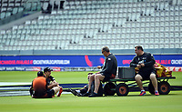 Cricket - 2019 ICC Cricket World Cup - pre-Final practice & press conferences<br /> <br /> New Zealand's Trent Boult (first left) relaxing on the pitch, at Lords.<br /> <br /> COLORSPORT/ASHLEY WESTERN