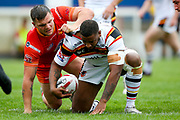 Bradford Bulls replacement Ross Peltier (17) at the play the ball area during the Kingstone Press Championship match between Sheffield Eagles and Bradford Bulls at, The Beaumont Legal Stadium, Wakefield, United Kingdom on 3 September 2017. Photo by Simon Davies.