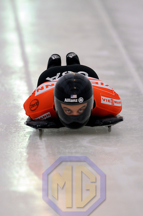 14 December 2007:  Eric Bernotas of the United States competes at the FIBT World Cup Men's skeleton competition on December 14, 2007 at the Olympic Sports Complex in Lake Placid, NY.  The race was won by Eric Bernotas of the United States in a time of 1:49.98.