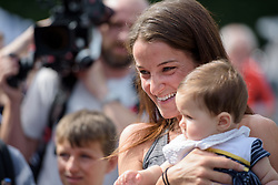 Lizzie Deignan poses for a photo with a very young fan at Grand Prix de Plouay Lorient Agglomération a 121.5 km road race in Plouay, France on August 26, 2017. (Photo by Sean Robinson/Velofocus)