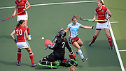 Canterbury's keeper Helen Fagg challenges with Hamburg's Lisa Altenburg during their opening game of the EHCC 2017 at Den Bosch HC, The Netherlands, 2nd June 2017