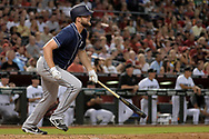 Sep 8, 2017; Phoenix, AZ, USA; San Diego Padres relief pitcher Jordan Lyles (27) hits a two run RBI single in the fourth inning against the Arizona Diamondbacks at Chase Field. Mandatory Credit: Jennifer Stewart-USA TODAY Sports