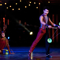London, UK - 4 Janaury 2014: the Diabolo act performed by Wei Liang Lin during the dress rehearsal of Quidam at the Royal Albert Hall. (available only for editorial coverage of the Production)