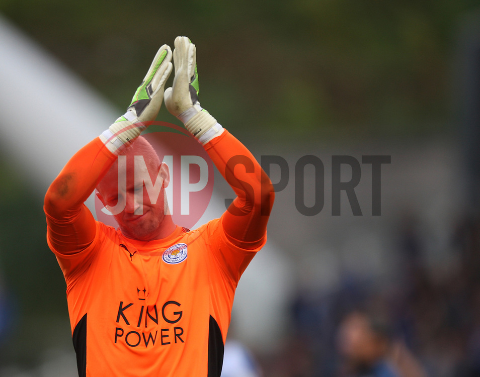 Kasper Schmeichel of Leicester City looks dejected as he applauds the fans at the final whistle - Mandatory by-line: Jack Phillips/JMP - 16/09/2017 - FOOTBALL - The John Smith's Stadium - Huddersfield, England - Huddersfield Town v Leicester City - English Premier League