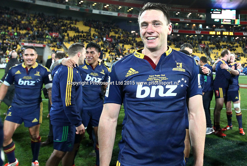 Highlanders' Ben Smith celebrating the win during the Super Rugby Final, Hurricanes v Highlanders. Westpac Stadium, Wellington, New Zealand. 4 July 2015. Copyright Photo.: Grant Down / www.photosport.nz
