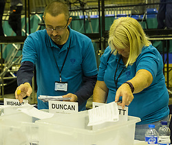 The count for the UK Parliamentary General Election 2017 for the Perth & North Perthshire Constituency takes place at Bell's Sports Centre in Perth.<br /> <br /> The four candidates standing for the seat are Peter Barrett (Scottish Liberal Democrats), Ian Duncan (Scottish Conservatives), David Roemmele (Scottish Labour) and Pete Wishart (SNP)<br /> <br /> Pictured: There are predictions of a close-call between the sitting MP, Pete Wishart and Conservative candidate Ian Duncan
