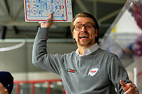 2020-01-22   Kallinge, Sweden: Krif hockey Head Coach Emil Ivansson is cursed over a referees decision during the game between Krif hockey and Halmstad Hammers at Soft Center Arena (Photo by: Jonathan Persson   Swe Press Photo)<br /> <br /> Keywords: kallinge, Ishockey, Icehockey, hockeyettan, allettan södra, soft center arena, krif hockey, halmstad hammers (Match code: krhh200122)