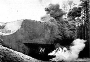 World War II: Nazi (German) demonstration of how French defensive Maginot Line forts were destroyed by attack with flame-throwers and grenades. In some places the Maginot defences held for some time.