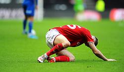 Marley Watkins of Bristol City picks up a minor injury- Mandatory by-line: Nizaam Jones/JMP - 04/01/2020 - FOOTBALL - Ashton Gate - Bristol, England - Bristol City v Shrewsbury Town - Emirates FA Cup third round