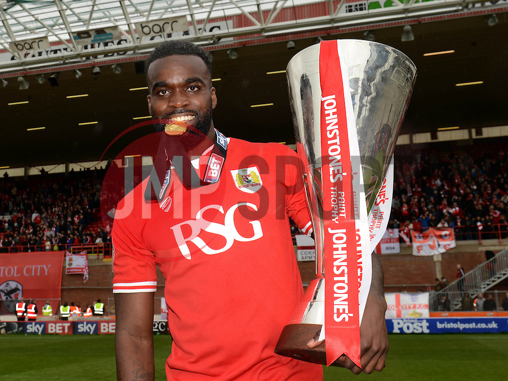 Bristol City's Karleigh Osborne  with the Johnstone Paint Trophy - Photo mandatory by-line: Dougie Allward/JMP - Mobile: 07966 386802 - 03/05/2015 - SPORT - Football - Bristol - Ashton Gate - Bristol City v Walsall - Sky Bet League One