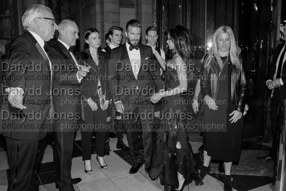 MARTIN ROTH; NICHOLAS COLERIDGE; DAVID BECKHAM; VICTORIA BECKHAM, Alexander McQueen: Savage Beauty Gala, Victoria and Albert Museum, and A. 12th March 2015