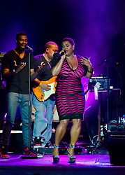 © Licensed to London News Pictures. 10/07/2012. London, UK. Jill Scott performs live at Somerset House, as part of the Summer Series of music events held annually at Somerset House.  Jill Scott (born April 4, 1972) is a Grammy-winning American poet, actress, and singer-songwriter.   Photo credit : Richard Isaac/LNP