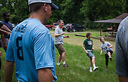Master's in Athletic Administration students and faculty participate in an ice breaker game during the outdoor challenge at The Ridges on Friday, June 26, 2015. © Ohio University / Photo by Rob Hardin