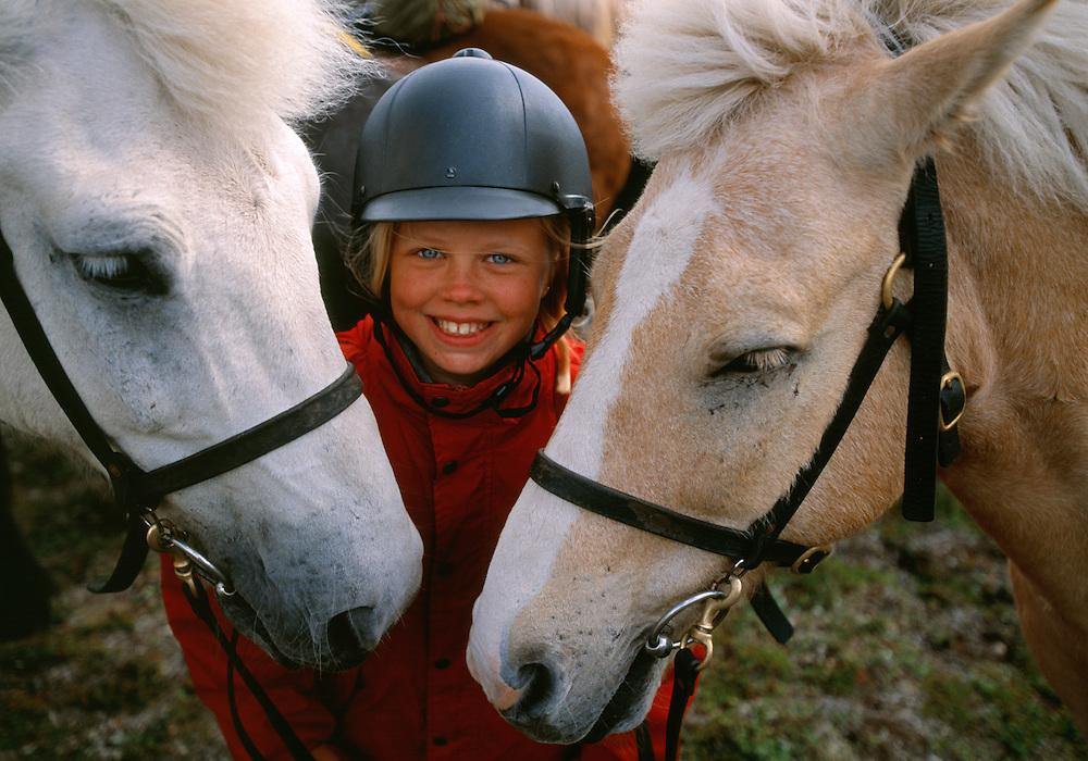 Liisa Widstrand, horse riding with tour operator Fjällhästen AB, Ammarnäs, Västerbotten, Sweden