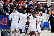 Coventry City forward Bright Enobakhare (24) celebrates his goal during the EFL Sky Bet League 1 match between Peterborough United and Coventry City at London Road, Peterborough, England on 16 March 2019.