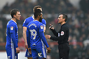 Referee Keith Stroud has words with Birmingham City midfielder Jacques Maghoma (19) during the EFL Sky Bet Championship match between Nottingham Forest and Birmingham City at the City Ground, Nottingham, England on 3 March 2018. Picture by Jon Hobley.