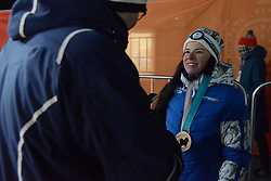 February 10, 2018 - Pyeongchang, South Korea - KRISTA PARMAKOSKI of Finland chats with the media  after winning the bronze medal in the ladies' 7.5km + 7.5km Skiathlon event in the PyeongChang Olympic games. (Credit Image: © Christopher Levy via ZUMA Wire)