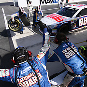 "Dale Earnhardt Jr. Pit crew hard at work at NASCAR SPRINT CUP ""AAA 400″ auto race at Dover International Speedway in Dover, DE Sunday,  Sept  29, 2013"