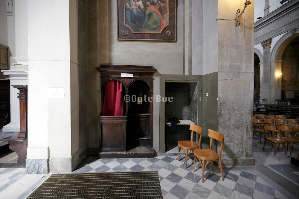 confessional interior church with chairs, Duomo, Città di Castello, Umbria, Italy