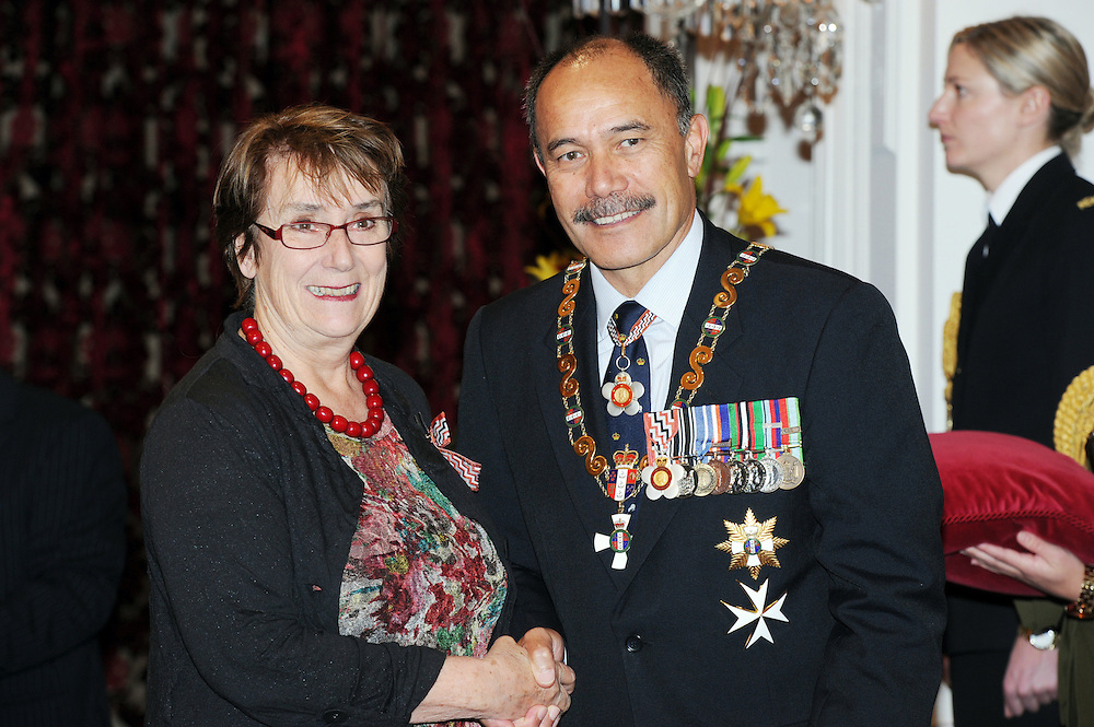 Jan Anderson, former Prinicpal of Otago Girls High after receiving a QSM from the Governor General Sir Jerry Mateparae at an investiture ceremony at Government house, Wellington, New Zealand, Tuesday, September 04, 2012. Credit:SNPA / Ross Setford