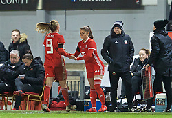 NEWPORT, WALES - Thursday, April 4, 2019: Wales' Kayleigh Green is replaced by substitute Ffion Morgan during an International Friendly match between Wales and Czech Republic at Rodney Parade. (Pic by David Rawcliffe/Propaganda)