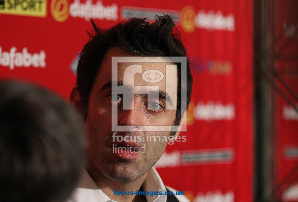 Picture by Paul Terry/Focus Images Ltd +44 7545 642257<br /> 14/01/2014<br /> Ronnie O' Sullivan talks in a press conference after winning his match during The Masters first round match at Alexandra Palace, London.