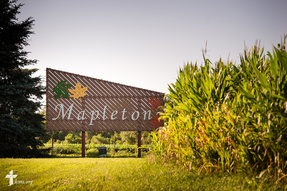 The entrance sign in Mapleton, Iowa, on Saturday, July 18, 2015.  LCMS Communications/Erik M. Lunsford