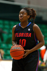 Dec 7, 2011; San Francisco CA, USA;  Florida Gators guard Jaterra Bonds (10) warms up before the game against the San Francisco Lady Dons at War Memorial Gym.  Florida defeated San Francisco 91-68. Mandatory Credit: Jason O. Watson-US PRESSWIRE