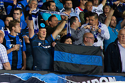 September 18, 2018 - Brugge, BELGIUM - Illustration picture shows Club Brugge supporters with a flag to honour Club Brugge supporter Eddy Devreker who had a heart attack during last week's match, at the start of a game between Belgian soccer team Club Brugge KV and German club Borussia Dortmund, in Brugge, Tuesday 18 September 2018, day one of the UEFA Champions League, in group A. BELGA PHOTO KURT DESPLENTER (Credit Image: © Kurt Desplenter/Belga via ZUMA Press)