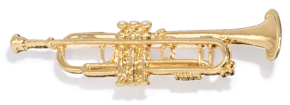 small gold trumpet pin