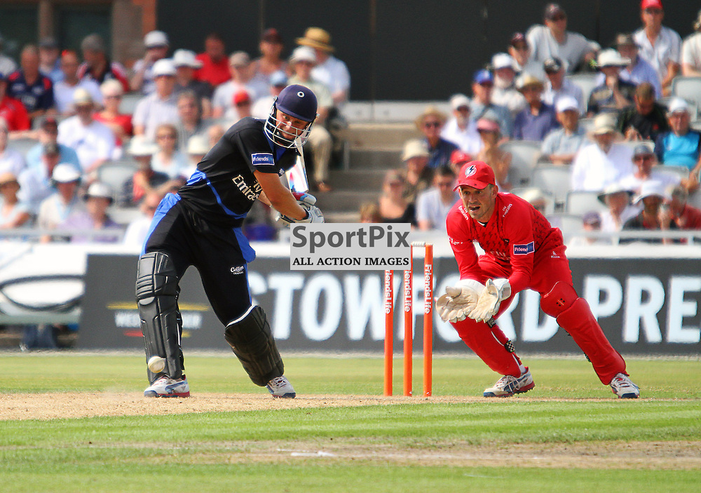 Scott Borthwick strikes the ball on his way to a half century, Lancashire Lightning vs Durham Dynamos, Emirates Old Trafford, Friends Life t20, 14.07.2013 (c) Thomas Miller | SportPix.org.uk