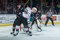 KELOWNA, CANADA - FEBRUARY 14: Jacob Herauf #8 of the Red Deer Rebels checks Conner Bruggen-Cate #20 of the Kelowna Rockets  on February 14, 2018 at Prospera Place in Kelowna, British Columbia, Canada.  (Photo by Marissa Baecker/Shoot the Breeze)  *** Local Caption ***