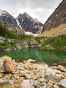 Victoria Lake on the Lake Oesa Trail with  Glacier Peak in the background, in Yoho National Park, near Field, British Columbia, Canada