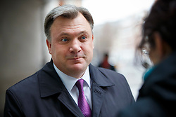 © Licensed to London News Pictures. 15/03/2015. LONDON, UK. Labour's Shadow Chancellor of the Exchequer, Ed Balls leaving BBC Broadcasting House in London after The Andrew Marr show on Sunday, 15 March 2015. Photo credit : Tolga Akmen/LNP