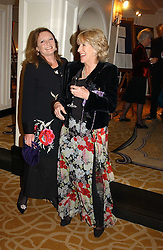 Left to right, LEONORA, COUNTESS OF LICHFIELD and ANNABEL ELLIOT sister of Camilla Parker Bowles at a dinner in aid of the BAAF (British Association for Adoption & Fostering) held at The Savoy, London on 22nd March 2005.<br />