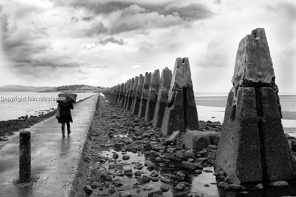 Cramond Causeway leading to Cramond Island outside Edinburgh in East Lothian, Scotland, united Kingdom