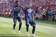 Manchester United goalkeeper Andreas Pereira celebrates his goal 1-1 during the Manchester United and Liverpool International Champions Cup match at the Michigan Stadium, Ann Arbor, United States on 28 July 2018.