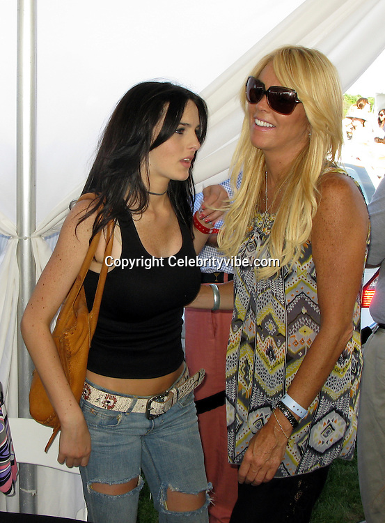 **EXCLUSIVE**.Ali Lohan, 15, with her mother Dina Lohan..Bridgehampton Polo Hosted by Katie Lee Joel.Bridgehampton Polo Club.Bridgehampton, NY, USA.Saturday, August 09, 2008.Photo By Celebrityvibe.com.To license this image please call (212) 410 5354; or Email: celebrityvibe@gmail.com ;.website: www.celebrityvibe.com