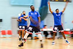Daniel Edozie of Bristol Flyers warms up - Photo mandatory by-line: Robbie Stephenson/JMP - 10/04/2019 - BASKETBALL - UEL Sports Dock - London, England - London Lions v Bristol Flyers - British Basketball League Championship