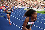 Stella Akakpo and Orlann Ombissa-Dzangue compete in women relay 4x100m during the European Championships 2018, at Olympic Stadium in Berlin, Germany, Day 6, on August 12, 2018 - Photo Philippe Millereau / KMSP / ProSportsImages / DPPI
