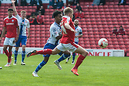 Lloyd Isgrove of Barnsley volleys the ball in to the net ahead of  Rico Henry of Walsall only to be ruled offside during the Sky Bet League 1 Playoff Semi Final First Leg at Oakwell, Barnsley<br /> Picture by Matt Wilkinson/Focus Images Ltd 07814 960751<br /> 14/05/2016