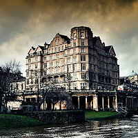Historic Building in Bath, England on Avon River