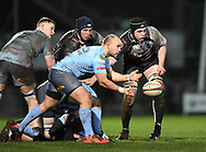 Williams of Neath clears the ball<br /> <br /> Photographer Mike Jones/Replay Images<br /> <br /> Principality Premiership - Neath v Pontypridd - Friday 16th March 2018 - The Gnoll Neath<br /> <br /> World Copyright © Replay Images . All rights reserved. info@replayimages.co.uk - http://replayimages.co.uk