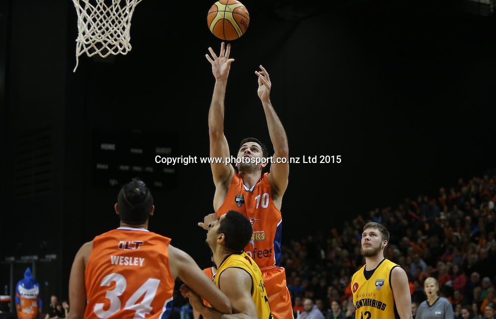 Todd Blanchfield of the Sharks takes a shot during the NBL basketball match between the Sharks and Mountain Airs at ILT Stadium Southland, Invercargill, Friday, June 05, 2015. Photo: Dianne Manson / www.photosport.co.nz