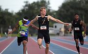 Jun 23, 2019; Miramar, FL, USA; Matthew Boling defeats Kennedy Lightner to win the 200m, 20.36 to 20.59, during the USATF U20 Championships at Ansin Sports Complex.