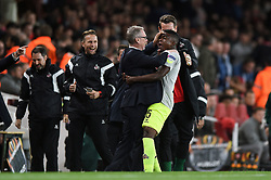 JhonCordoba of Cologne celebrates his first half goal with Manager Peter Stoger - Mandatory by-line: Patrick Khachfe/JMP - 14/09/2017 - FOOTBALL - Emirates Stadium - London, England - Arsenal v Cologne - UEFA Europa League Group stage